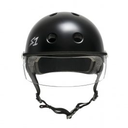 CASCO S1 BLACK GLOSS CON VISOR